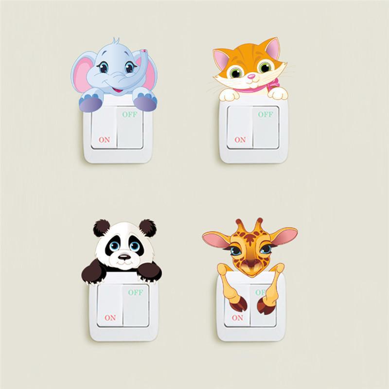 Animaux Mignons Elephant Cat Panda Girafe Light Switch Sticker Remoable Wall Sticker pour les enfants Nursery Accueil Decal Murla Décor