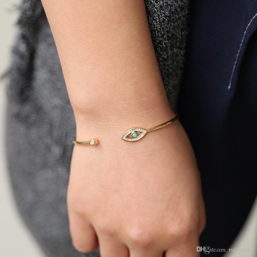 Gold Color Round Shape Lucky Evil Eyes Turkish Hamsa Hand Open Bangle&Bracelet bezel blue stone cz women jewelry dropshipping