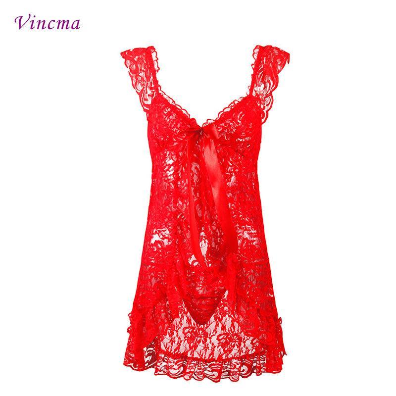S M L 4XL 5XL 6XL Tallas grandes Bordado Negro Rojo Ropa Interior Erótica Hot Sexy Lingerie Babydolls Vestido Transparente D18110701