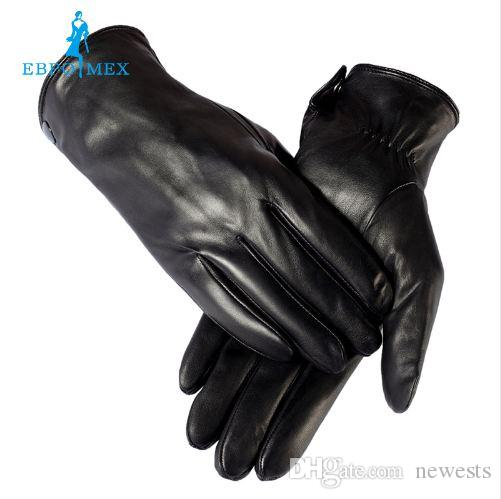 warm winter mens gloves ,Genuine Leather,Black leather gloves,male leather gloves,winter gloves men, Free shipping