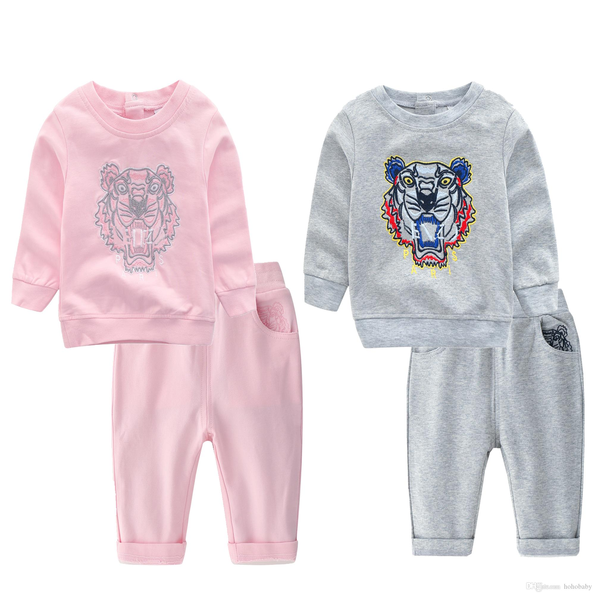 Baby Girl Boy 2 pc Set Tracksuit Outfit long sleeve Top Trousers 3 6 9 12 18 Mth