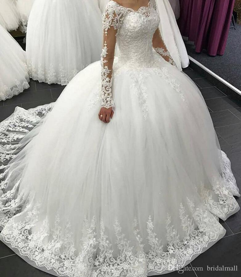 Sheer lange mouwen Kant Trouwjurken Elegante Plus Size Afrikaanse Bruidsjurk Rits Terug Een lijn Bruidsjurken Custom Vestidos de Novia