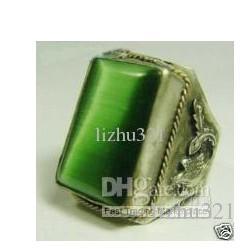 Mooie Tibet Silver Men's Green Jade Ring