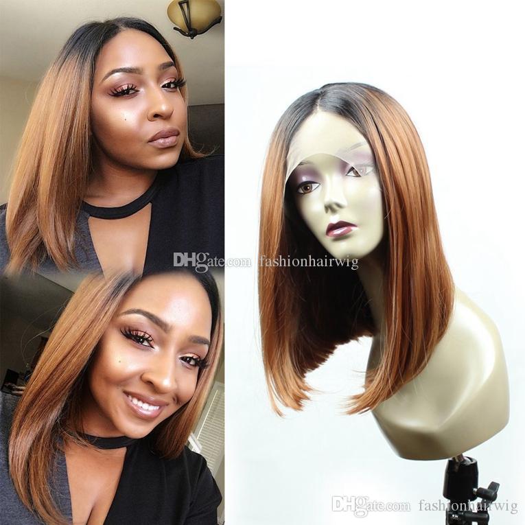 Sexy alta calidad rubia Ombre pelucas 1B / 30 # Bob corto peluca recta del frente del cordón pelucas sintéticas a prueba de calor del frente del cordón para mujeres negras
