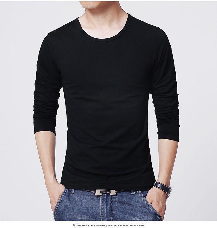 2017 men's T shirt 3 Basic colors Long Sleeve Slim T-shirt young men Pure color tee shirt 3XL size O neck Free Shipping