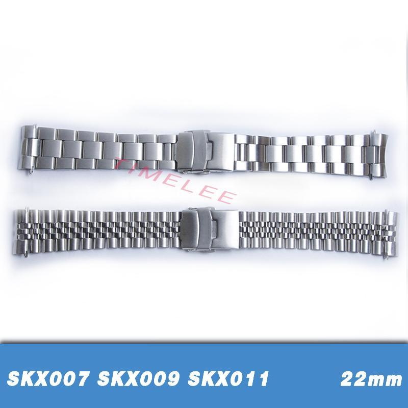 Pulseras de banda de reloj de acero inoxidable de 22 mm Reemplazo de extremo curvo para SKX007 SKX009 SKX011