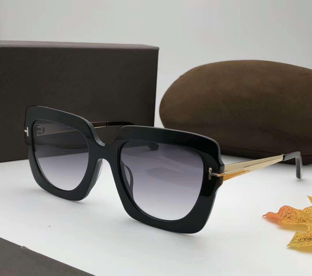 jazmín FT 0610 negro / gris sombreado gafas de sol cuadrado Sonnenbrille occhiali da único 2018 gafas de sol de lujo diseñador gafas con caja