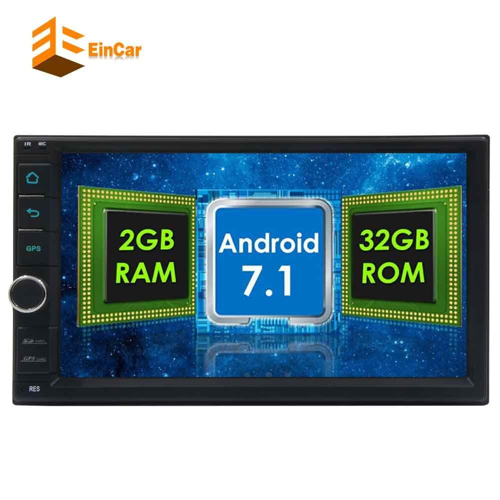 ستيريو سيارة Eincar بسعة 32 جيجا بايت R0M Android 7.1 HeadUnit Octa Core 2 الدين بالسعة التي تعمل باللمس سيارة لاعب FM RDS راديو استقبال السيارات GPS