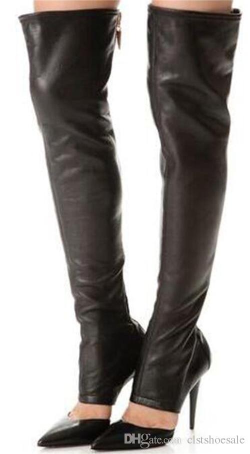 Yeni Moda Kadınlar Sivri Burun Siyah Deri Diz Üzerinde Gladyatör Boots Cut-out Uzun Süper Yüksek Topuk Çizmeler Elbise Ayakkabı
