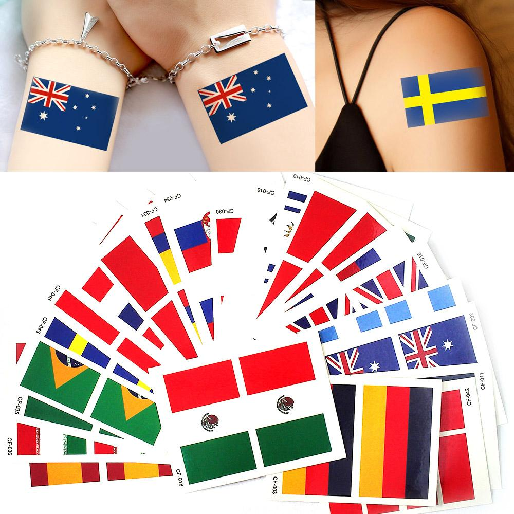 Etiqueta engomada del cuerpo Glary Years 100 Sheets 6 * 8cm Rusia World Cup National Banner Flags Tattoo Temporal Football Sports Funs Watching Game