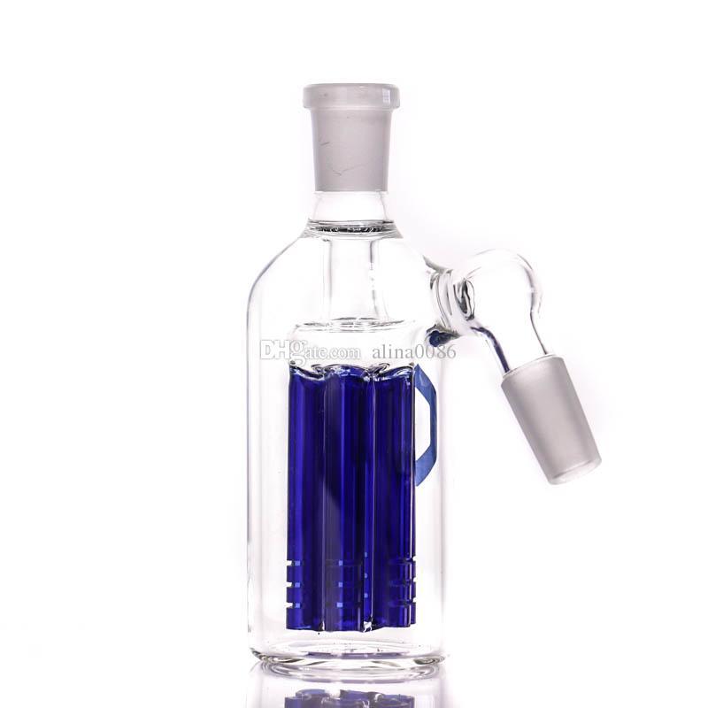 Hookah grossist mini askfångare hög kvalitet 14.5-14.5mm blå 6 armträd Perc Ashcatcher för vattenrör