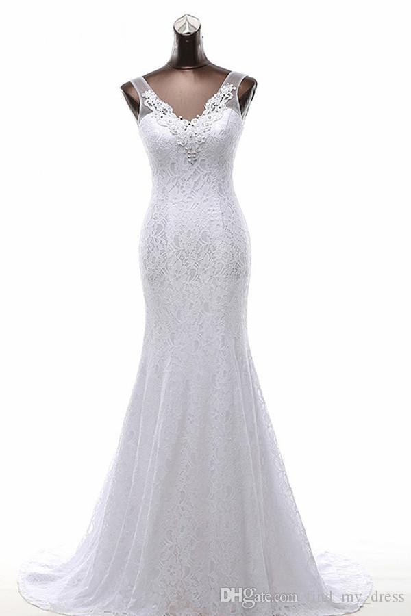 Yeni Gerçek Resim Fildişi V Boyun Aç Geri Sheer Dantel Mermaid Gelinlik prenses Uzun Gelin Önlükler Aplikler Custom Made Romantik Beyaz