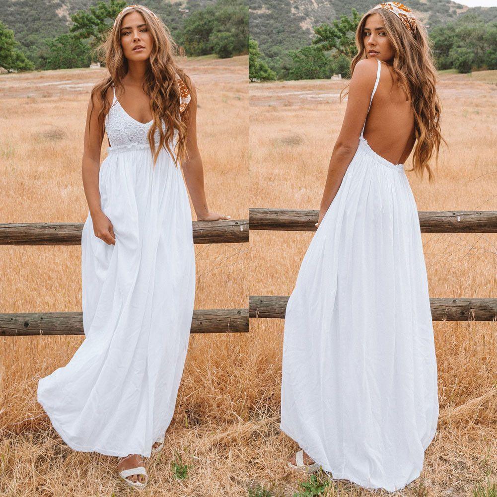 Femme dentelle bracelet longue robe maxi robe backless col v-cou de plage Beach boho robe de plage de la boue bohème