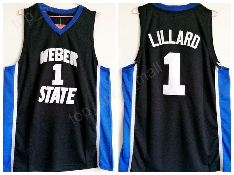 Weber State Damian Lillard Jersey 1 University Black Color Men BasketBall Lillard College Jerseys traspirante per i fan dello sport alta Qualit