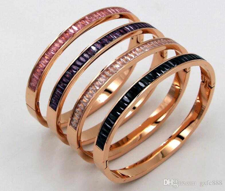 Il braccialetto di cryolite di temperamento coreano Il colore rosa di modo dei monili di oro di rosa ha scoppiato il braccialetto dei monili del diamante del diamante di pietra