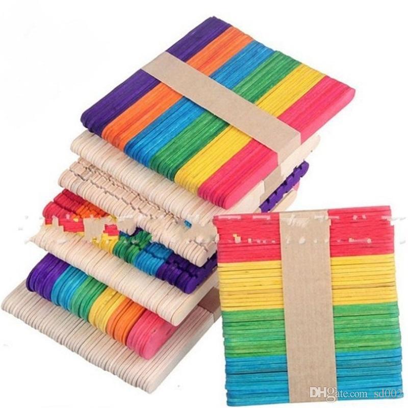 Bâton de crème glacée bricolage Multi couleurs en bois bâton de Popsicle pour les enfants manuel artisanat Art Factory Vente directe 3xs VB