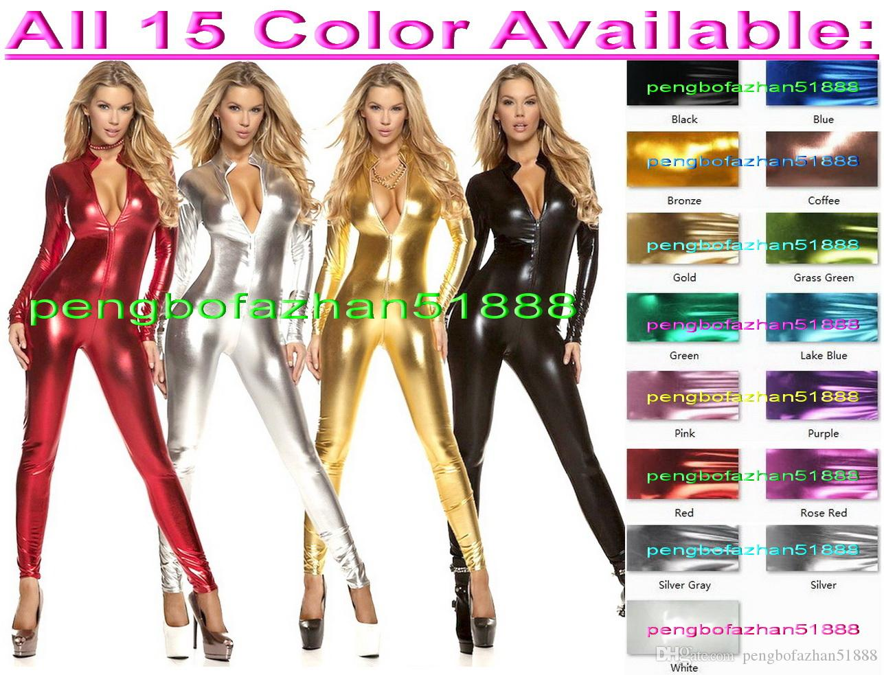 Sexy Front Zipper Body Suit Costumes Sexy 15 Color Shiny Lycra Metallic Suit Catsuit Costumes Unisex Fancy Dress Party Cosplay Costumes P319
