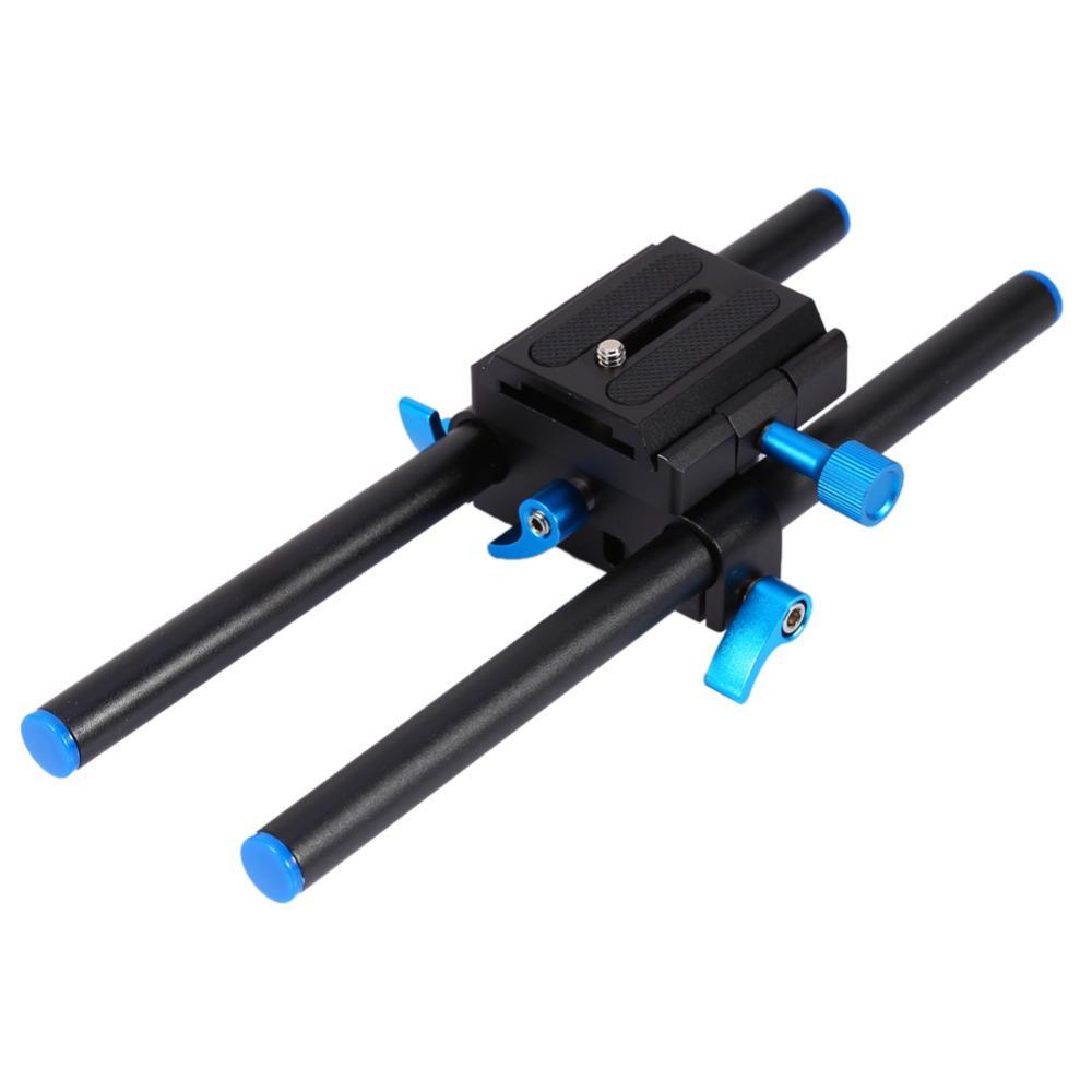 """15mm Raylı Çubuk Destek Sistemi Taban Plakası Dağı ile 1/4 """"Vida Plaka YENI Canon DSLR için V5B9 Takip Odak Rig 5D2 5D 5D3 7D"""