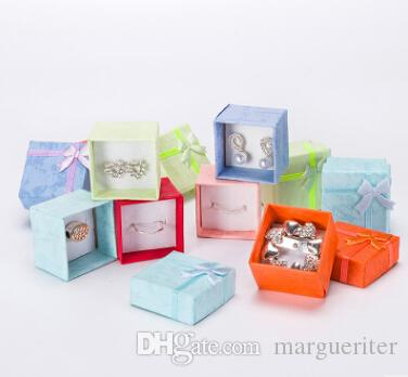 Jewelry Storage Box Earring Ring Organizer 4X4cm Square Necklace Display Container With Bowknot Jewelry Paper Gift Box