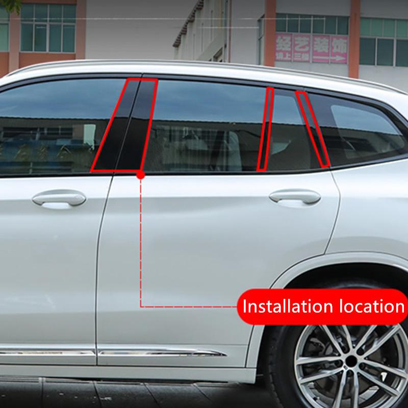 Stainless Steel 8pcs Car Window B Column Sequins Decoration Cover Trim For BMW X3 G01 G08 25i 28i 30i 2018 Auto Exterior Decals
