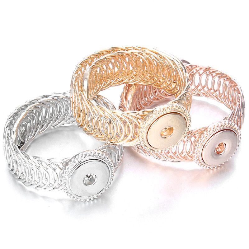 Neue Snap Armreifen Schmuck Rose Gold Snap Manschette Armbänder Metallknopf Charms Schmuck Armband Für Frauen ZE052