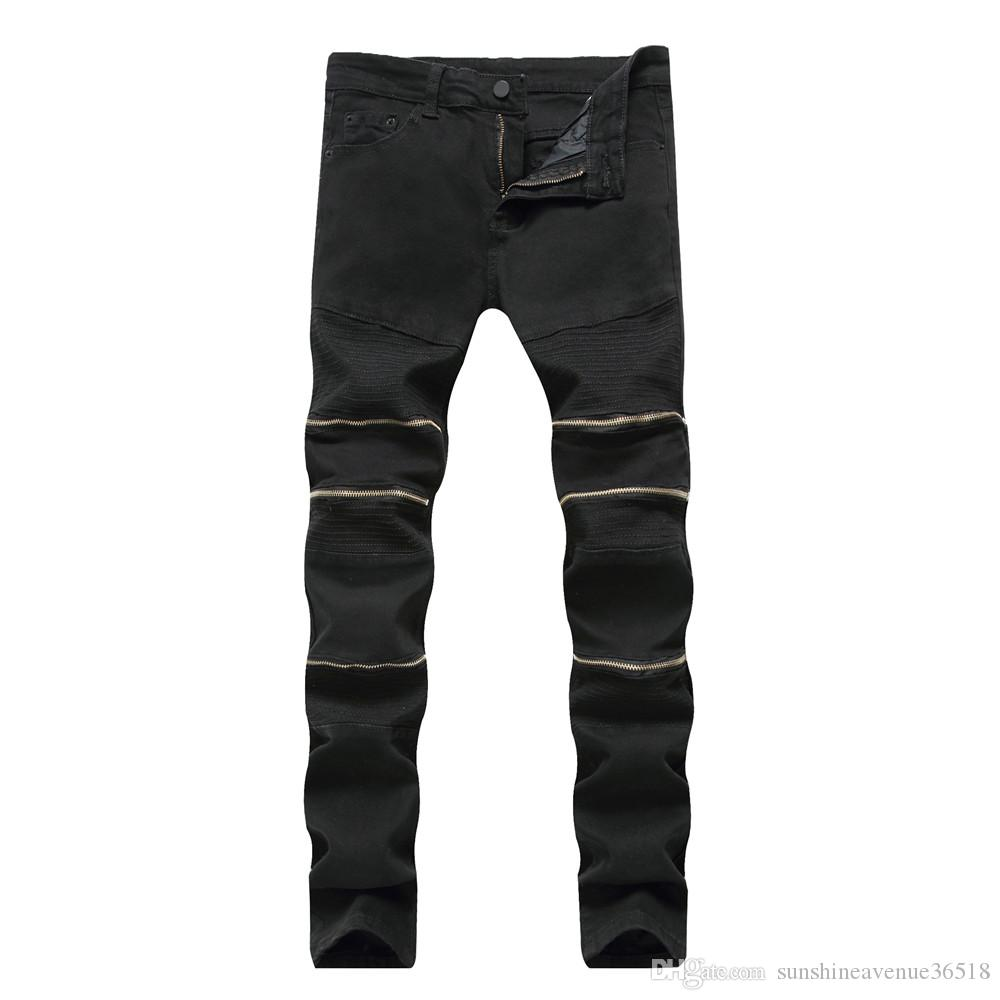 New Men Jeans Motorcycle Biker Design Fashion Race Jeans For Men Hip Hop Zipper Jeans