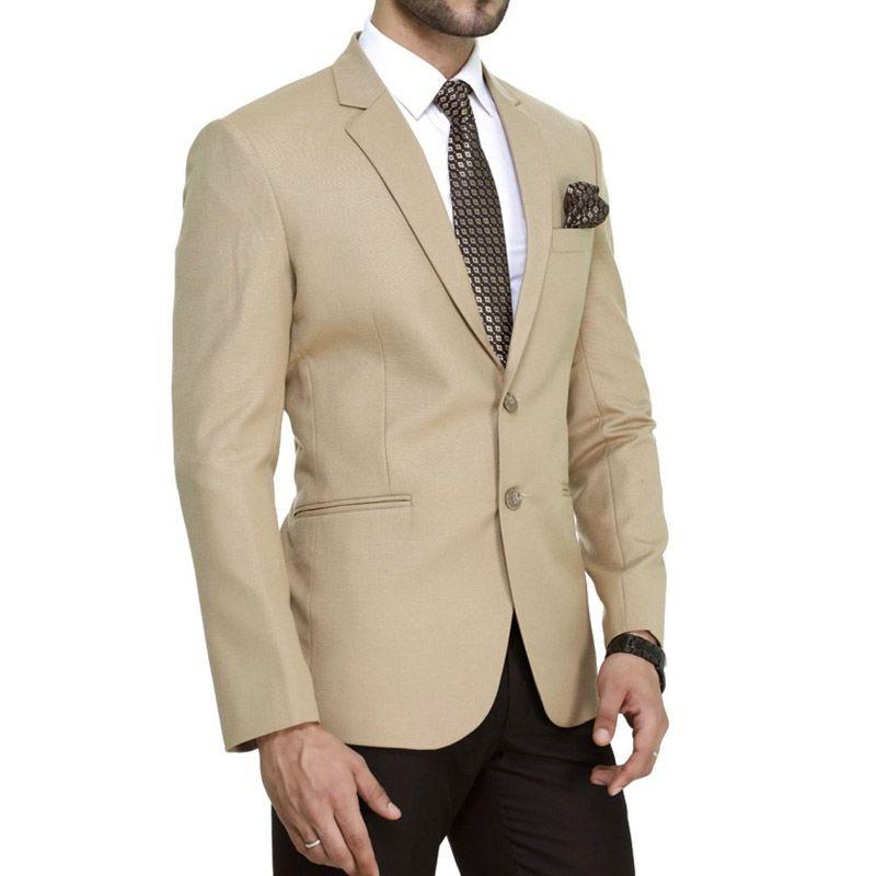 Trajes de hombres de color caqui por encargo con pantalones negros Trajes de boda Chaqueta formal de negocios Slim Fit Novios Esmoquin A medida Best Blazers para hombre 2 piezas