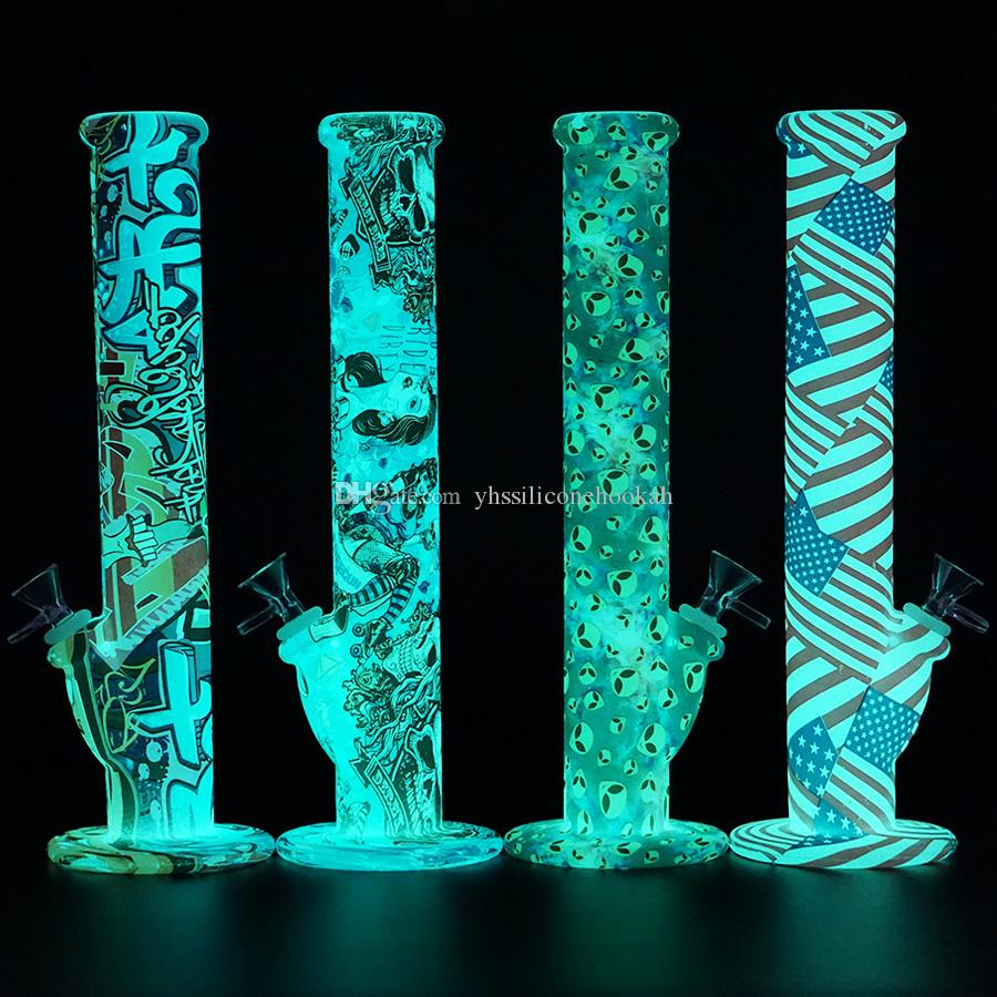 Glow in the dark 14'' straight bong non fading printing oil rig Silicone Water Bongs 14mm Joint tobacco water pipe glass pipes