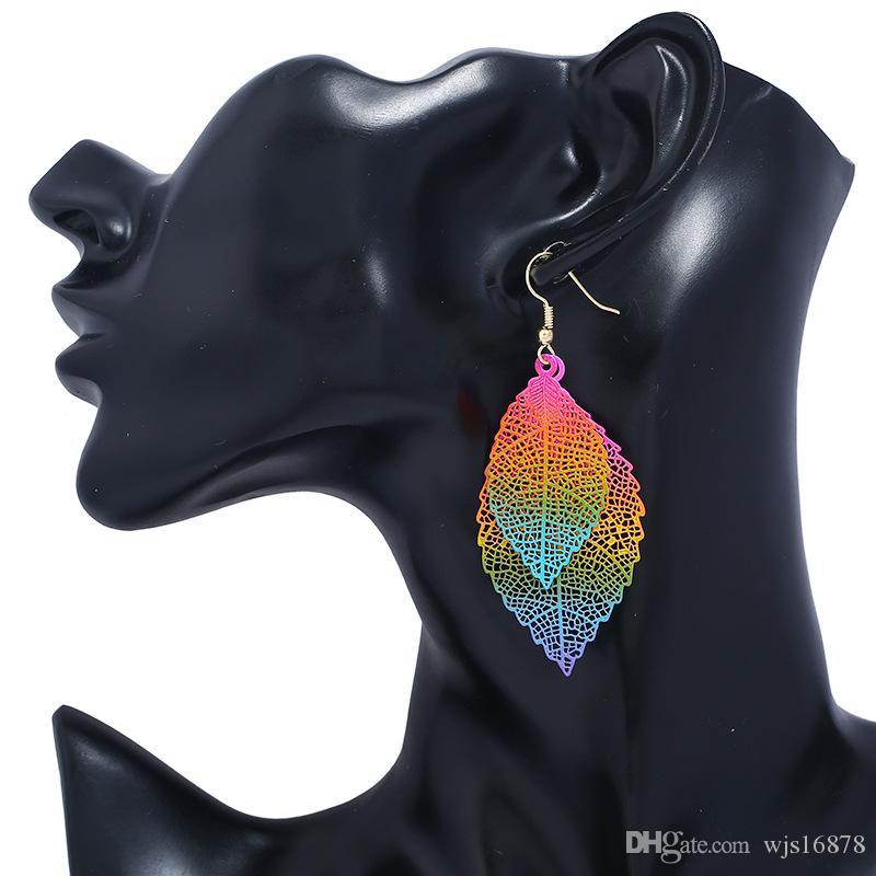 Wholesale 2020 fashion Luxury boho Double color Leaf Dangle earrings Vintage Leaves long tassels drop Earring for women Jewelry