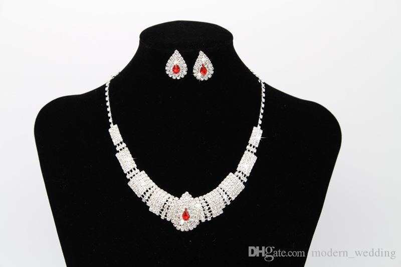 Wholesale Free Shipping Bridal Jewellery Sparkly Diamond Rhinestone Earrings Necklace Sets Cheap Wedding Jewelry Set For Prom Party