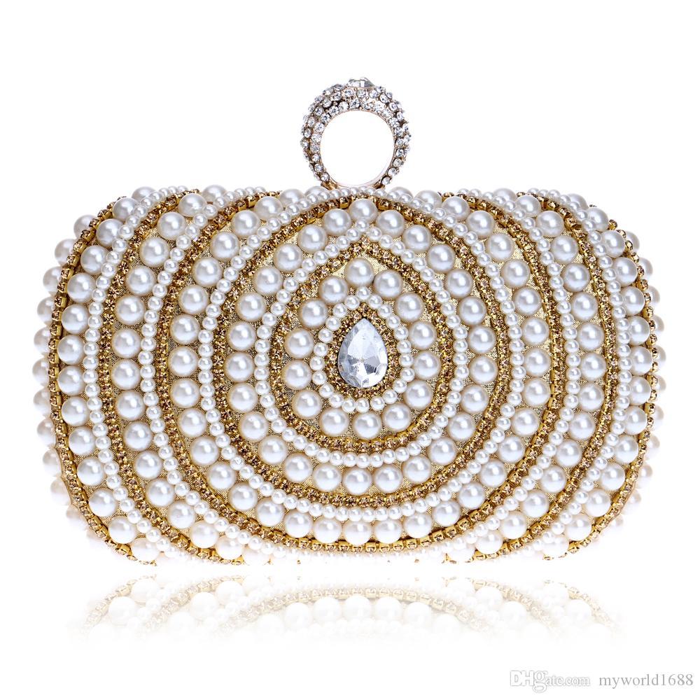 Женские сумки из бисера с бриллиантами и бриллиантами Кольца с бриллиантами Вечерние сумки из хрусталя Роскошные жемчужные свадебные сумки для ужина