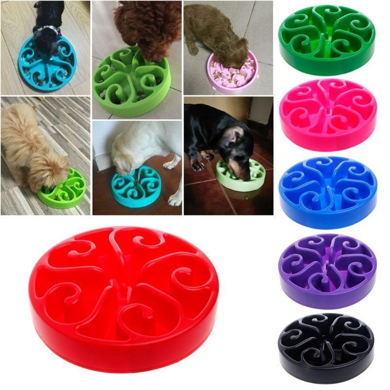 Alimentación lenta Alimentación Perro Bowl Multi colores Anti asfixia Comida Agua Plato Redondo Pet Bowls GGA330 60pcs