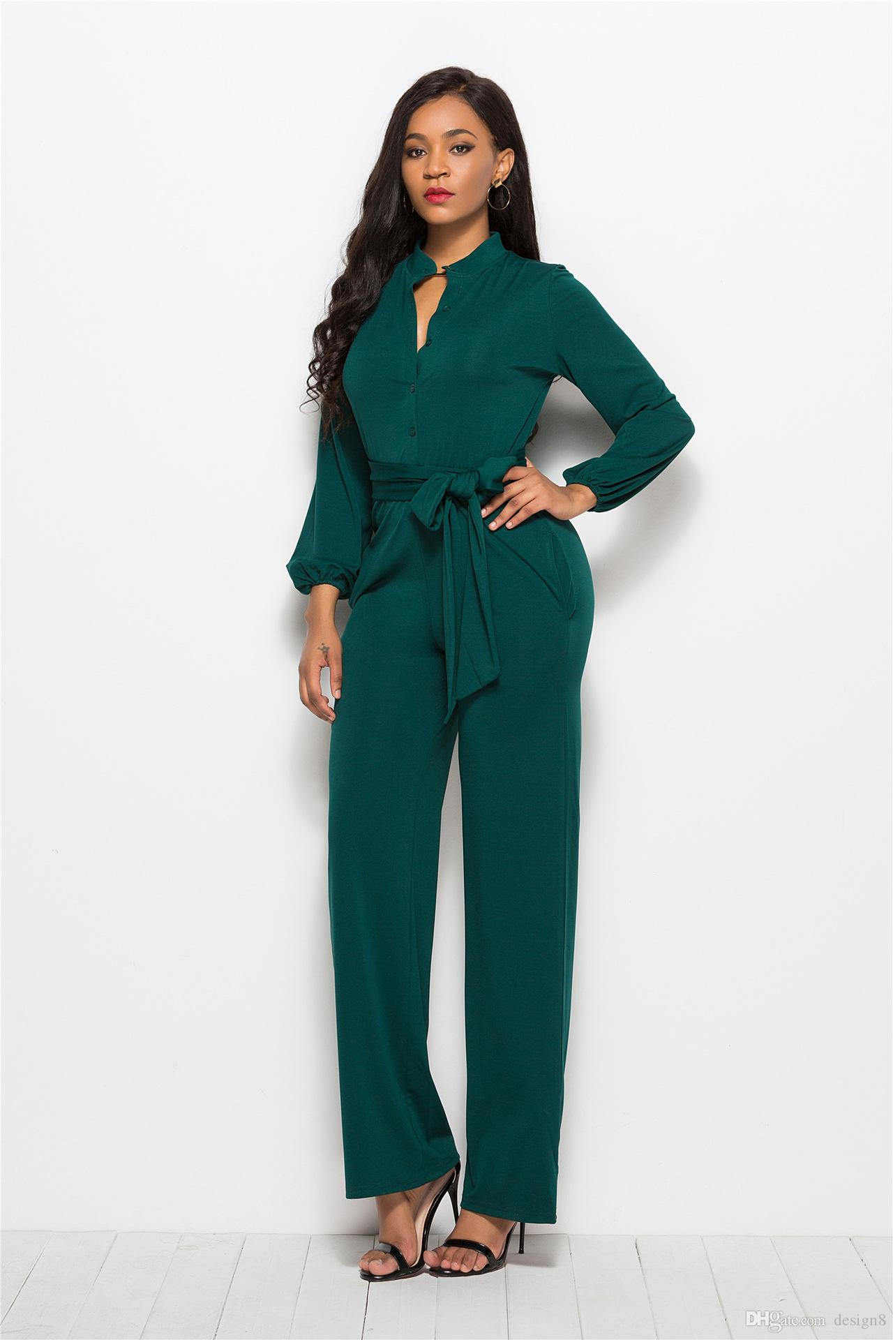 Christmas Jumpsuit Womens.2019 2018 Christmas New Design Women S Spring And Autumn Long Section Jumpsuit Fashion Elegant Simple Overalls Jumpsuit From Design8 32 88