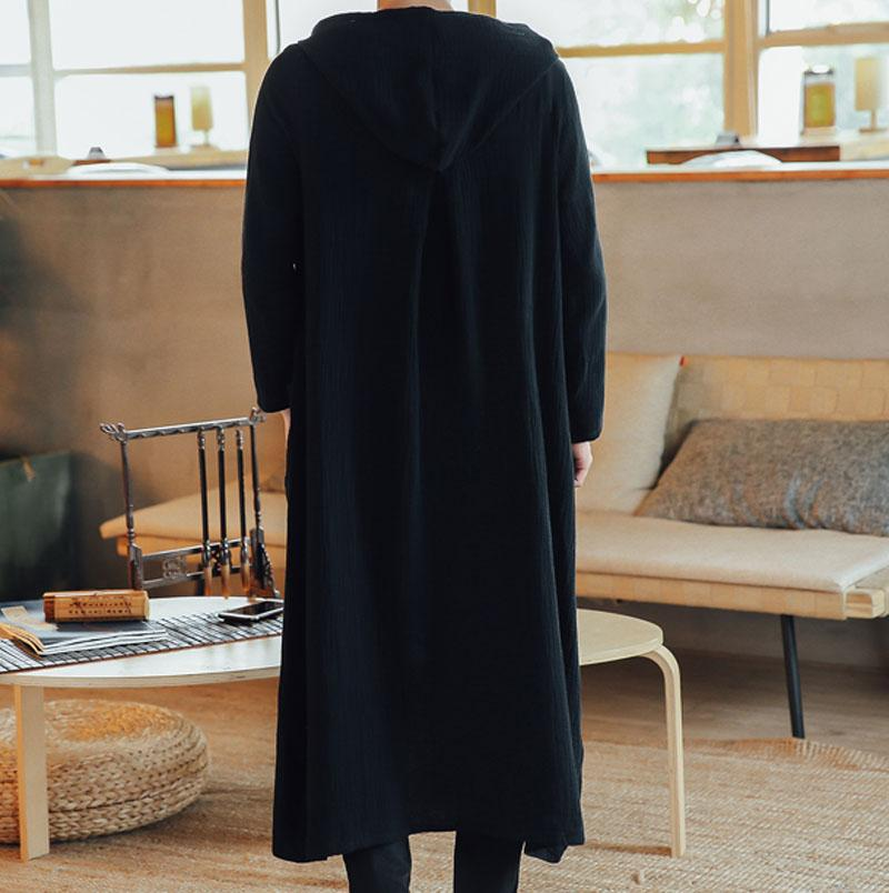 Men Cotton Linen Long Casual Hooded Trench Coat Spring Autumn Male Loose Hoody Cardigan Jacket Outerwear Overcoat