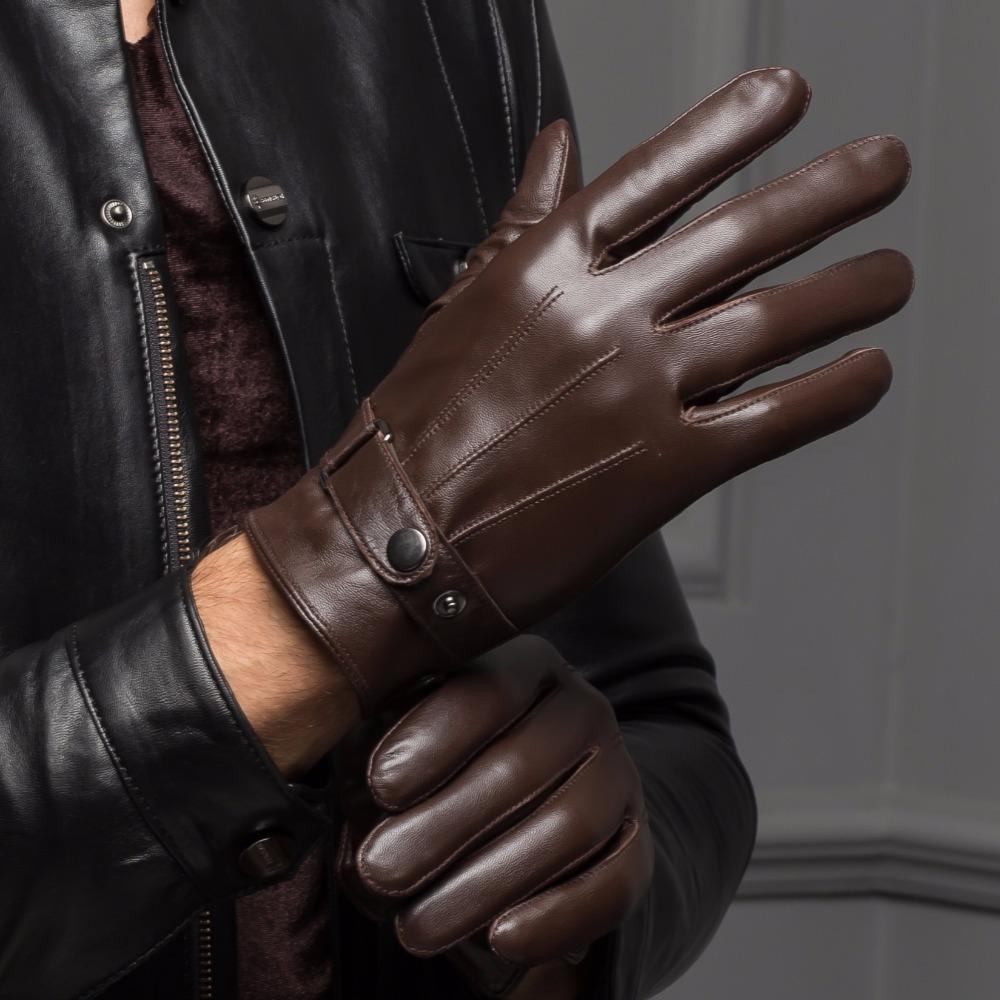 Male Spring/Winter Real Leather Short Thick Black/Brown Touched Screen Glove Man Gym Luvas Car Driving Mittens Free Shipping