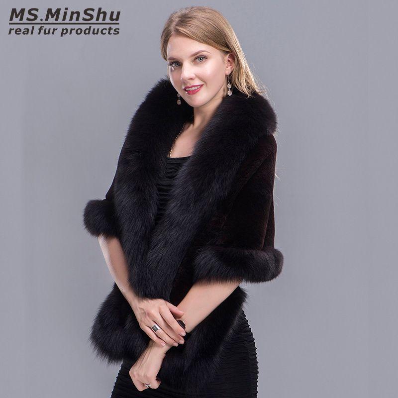 Fox Fur Trimmed Rex Rabbit Cape Fox Fur Shawl Winter Women Genuine Fur Poncho Pashmina Fashion Poncho Winter Cape Female MS.MinShu