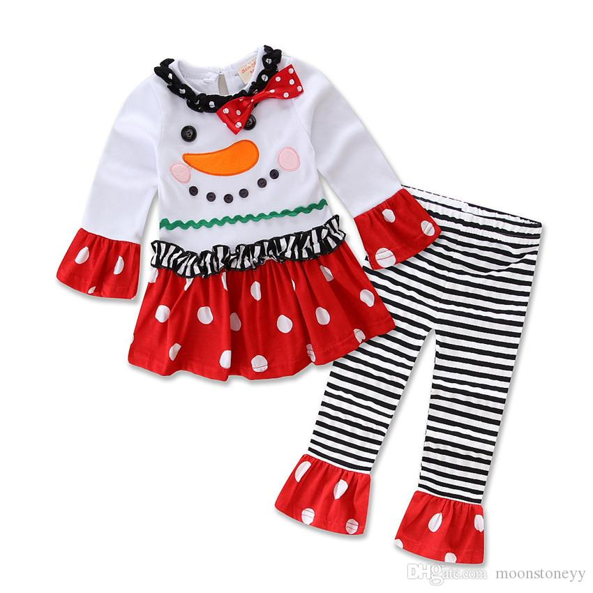Snowman Print Christmas Girls Clothes Suit Shirt+Pants Autumn Outwear Clothing Sets Baby Kids Warm Clothes Outfits