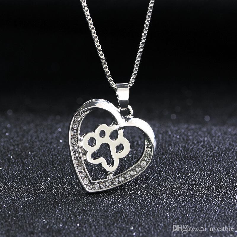 حار بيع الفضة الحب شكل قلب الكلب الكفوف مخالب قلادة مع حجر الراين مربع سلسلة المجوهرات الشعبية