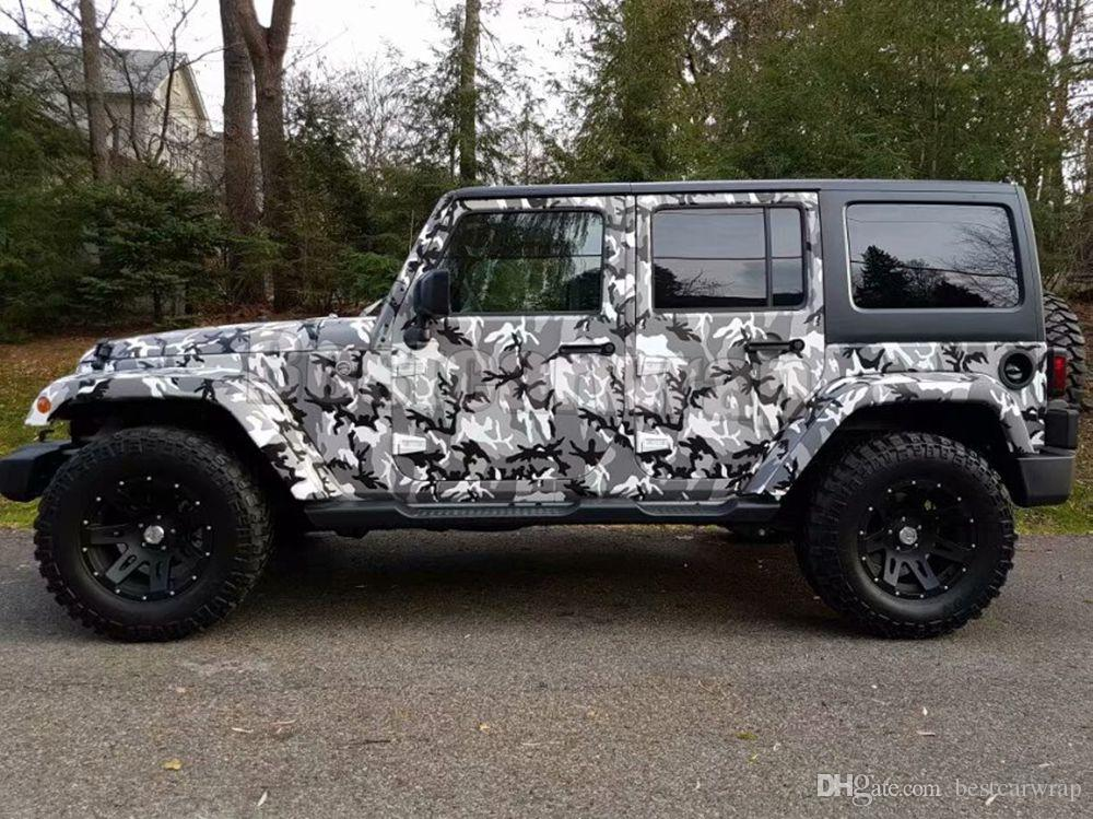 Forest Winter black white Gray Camouflage Vinyl wraps for Vehicle car wrap Graphic Camo covering stickers air bubble free 1.52x30m 5x98ft