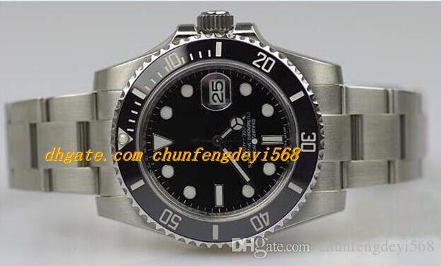 Luksusowe zegarki V5 Azja 2813 Ruch Papezpieczniki Papiery Czarny Dial 40mm Ceramiczne Bezel Szafir Szkło 116610 Automatyczne Moda Zegarek
