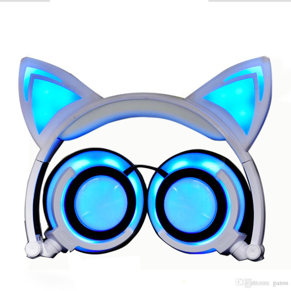 Cat Ear Kids Headphones Flashing Glowing Cosplay Fancy Foldable Over-Ear Gaming Headsets Earphone with LED for Girls Boys Phone Tablet