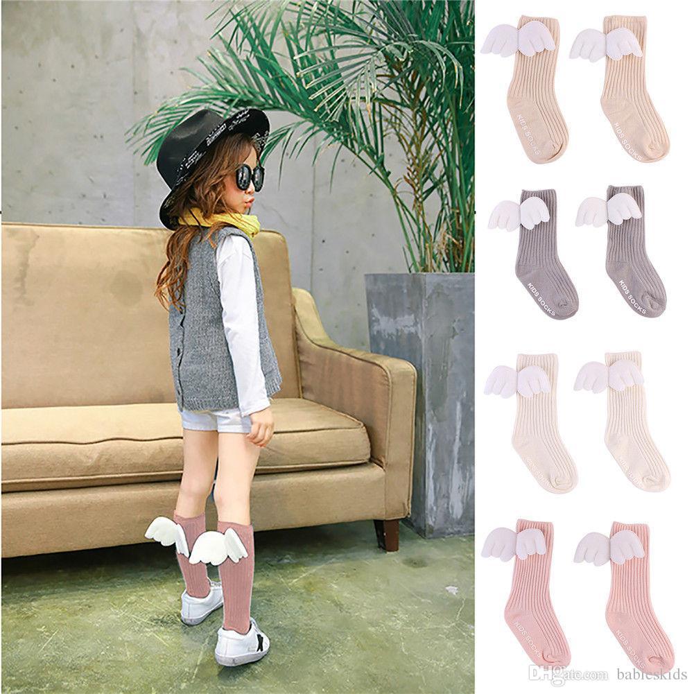 Милые девушки малышей носки младенца шаржа Колено высокие носки Дети розовый белый цвета Носок Baby Girl гетры Детские носки хлопка для девочки