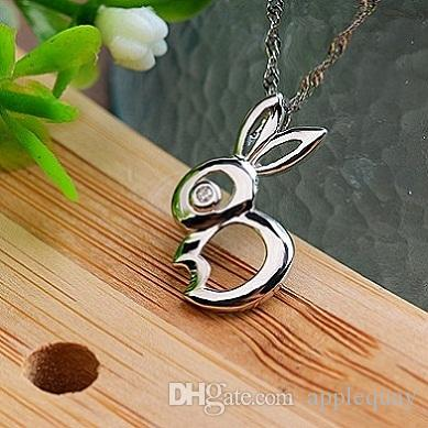 925 Sterling Silver Jewelry Woman' Pendants Necklaces Animal Rabbit Shiny Crystal DIY Chains Slide Fashion Cute Casual 2019 New 20*12mm 6 pc