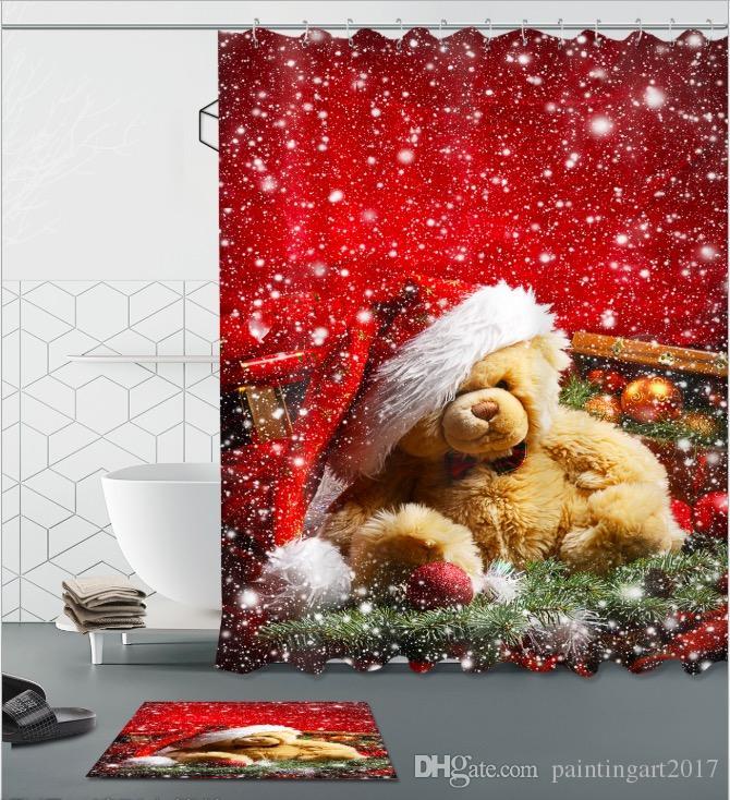 Рождественский медведь подарок 3D печати пользовательских водонепроницаемый ванная комната современный душ занавес полиэстер ткань ванной занавес двери коврик наборы
