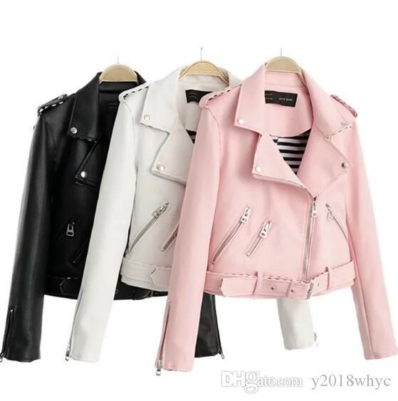Весна осень новый женский осенний короткий отворот мотоцикла кожаная куртка женская молния куртки пальто