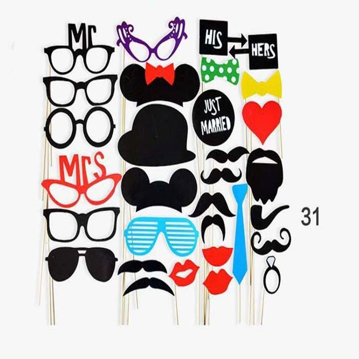 31pcs/set Photo Booth Props Photography mask paper Card Wedding/Team bride Party Decoration event gift Just Married/Mrs/Mr