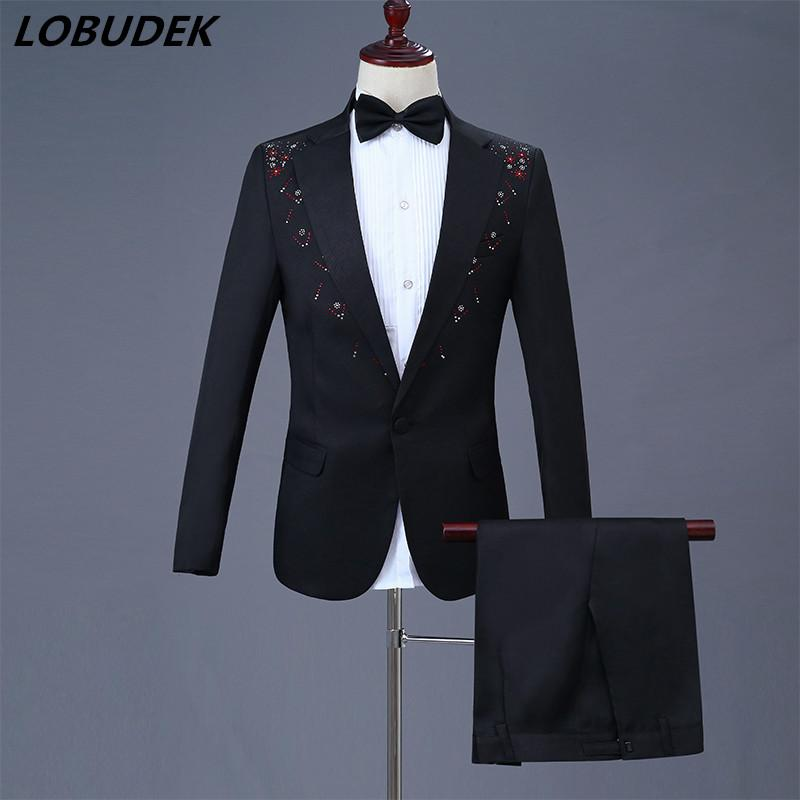 Shining Crystals Men Suits Adult Costume Wedding Master Prom Compere Dinner Party Singer Chorus Studio show Blazers Pants Suit stage outfit