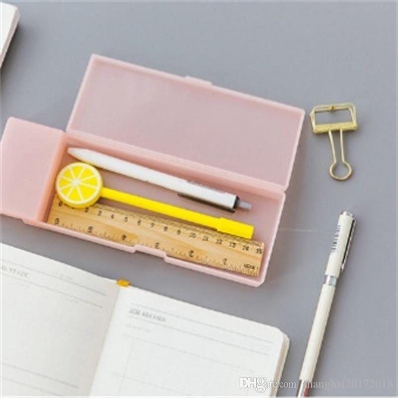 Mignon Kawaii Transparent PP Plastique Crayon Cas Belle Boîte À Stylos Pour Enfants Cadeau Bureau École Papeterie Fournitures