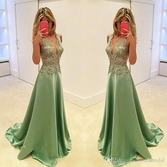 2018 Deep V Neck Lime Prom Dresses Satin Lace Applique Long Formal Special Occasion Dress Evening Wear Party Gown Plus Size