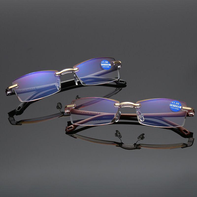 2018 New Men Reading Glasses Diamond Trim Blue Light Blocking Rimless Frame Reading Eyeglasses, Black Brown 802